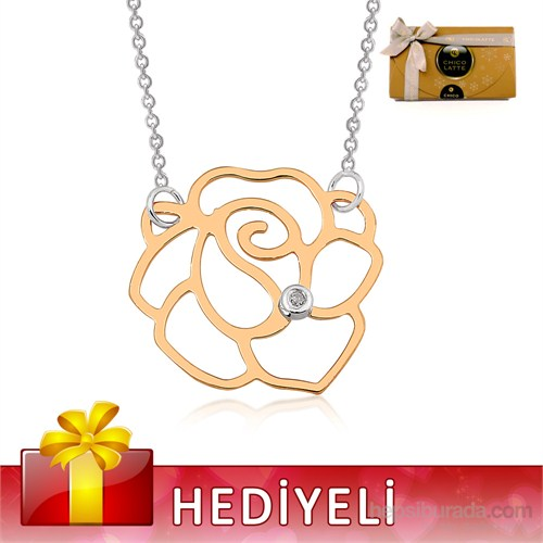 Altınsepeti Pırlantalı Gümüş Gül Kolye Mf021248