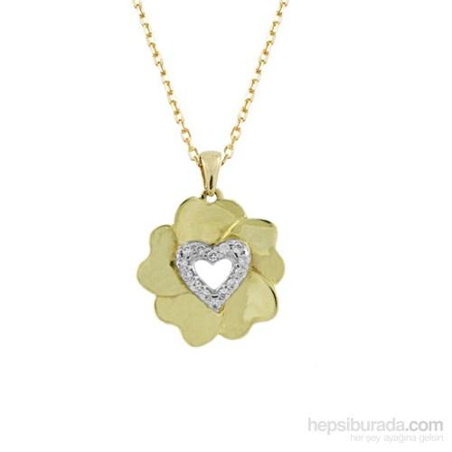 Altınsepeti Altın Yonca Kalp Kolye As604kl