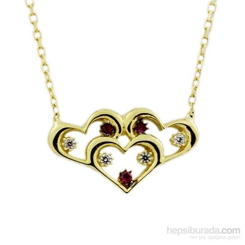 Altınsepeti Renkli Taşlı Üçlü Kalp Kolye As622kl