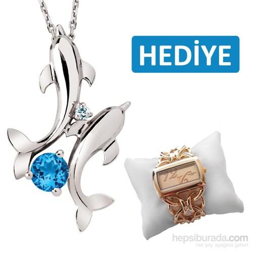 """Bella Gloria 925 Ayar Gümüş Üzeri Altın Kaplamalı Pırlanta Mavi Topaz """"İkimiz"""" Balık Kolye (GPK0010)"""