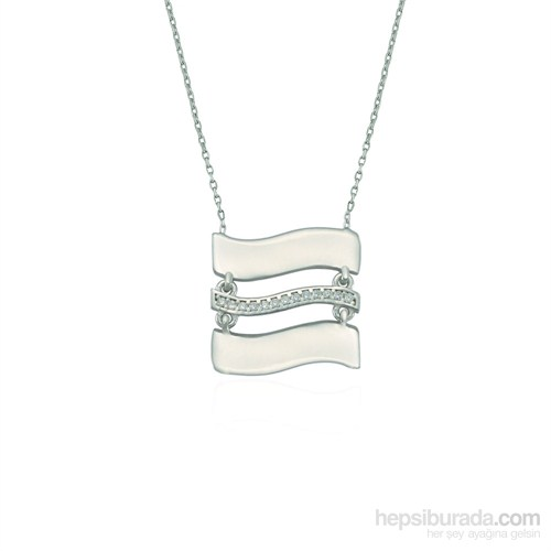 Glorria 925 Ayar Gümüş Taşlı Plaka Kolye