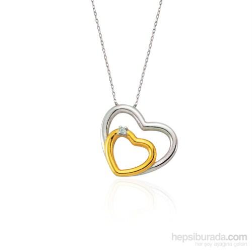 Glorria 925 Ayar Gümüş Pırlantalı Kalp Kolye