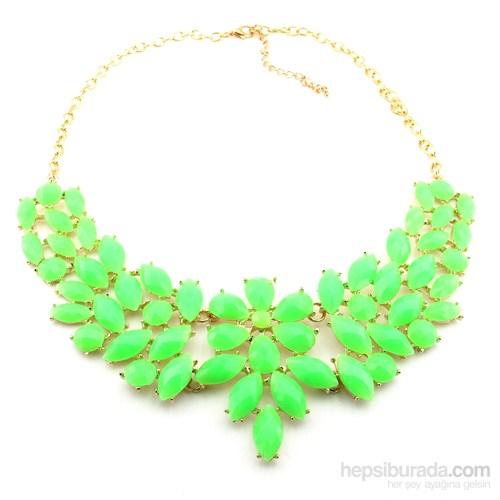 Solfera Yeşil Neon Renkli Bayan Kolye Çiçek