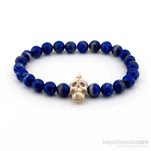Solfera Lapis Lazuli Taşı Kurukafa Erkek Bileklik