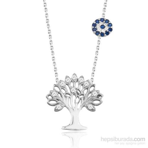 Neva Gümüş Nazar Gözlü Hayat Ağacı Kolye