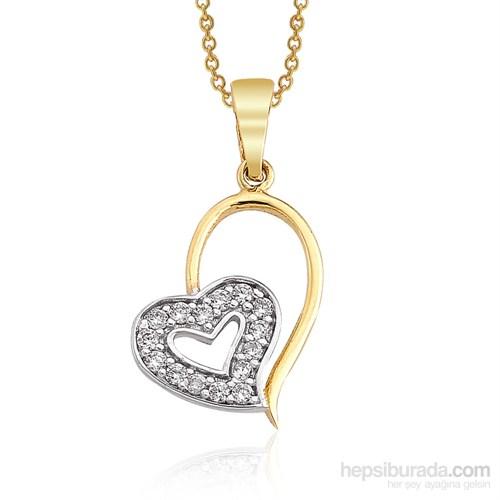 Altınsepeti İki Kalp Altın Kolye As909kl
