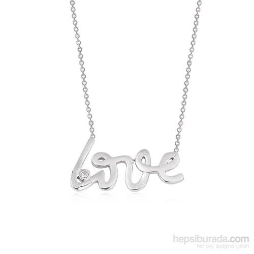 Altınsepeti Gümüş Tektaşlı Love Yazılı Kolye G411kl