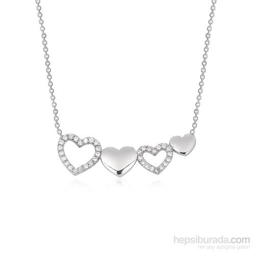 Altınsepeti Gümüş Sıralı Kalpler Kolye G410kl