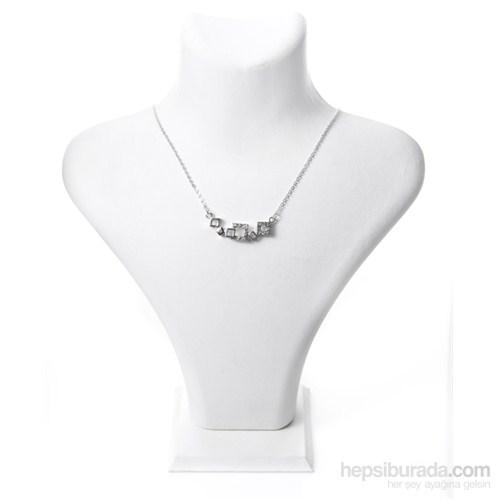 Bıggbıjoux Barkıel Üç Kare Taşlı Kolye-Gümüş Renkli