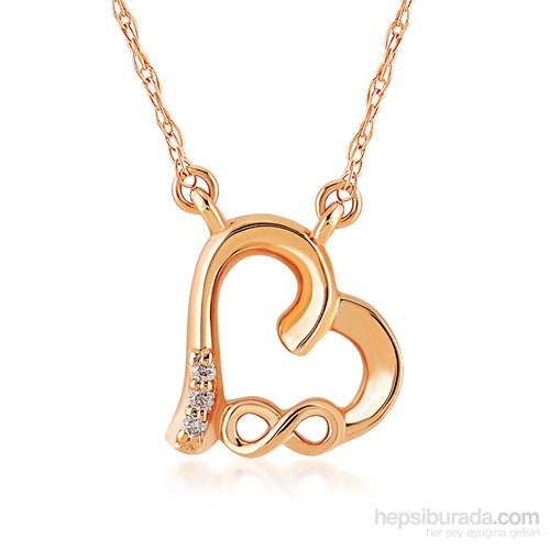 Divas Love Altın Pırlantalı Kalp Sonsuzluk Kolye
