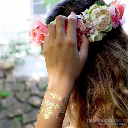 Chıctat Gold Lıpstıck Mücevher Dövme Takı 4 adet 14*21 cm