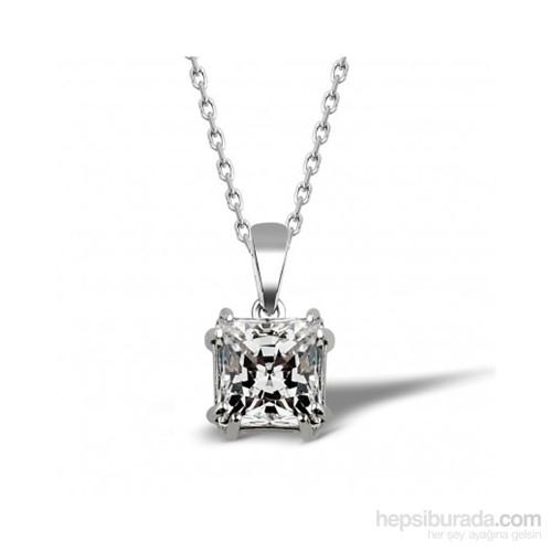 Aslaner Prenses Kesim Tektaş Gümüş Kolye