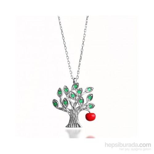 Aslaner Hayat Ağacı Ve Günah Elması Gümüş Kolye