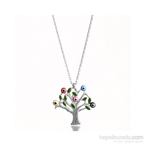 Aslaner Karışık Renk Mineli Hayat Ağacı Gümüş Kolye