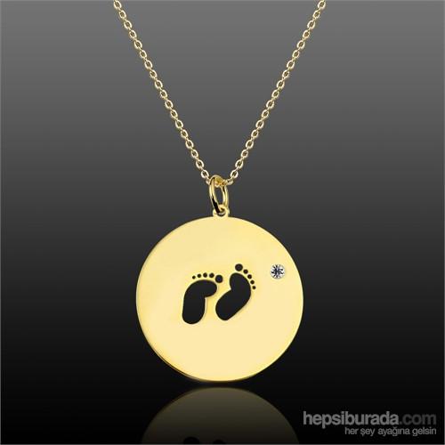 Aslaner Zirkon Taşlı Bebek Ayakları Gümüş Kolye