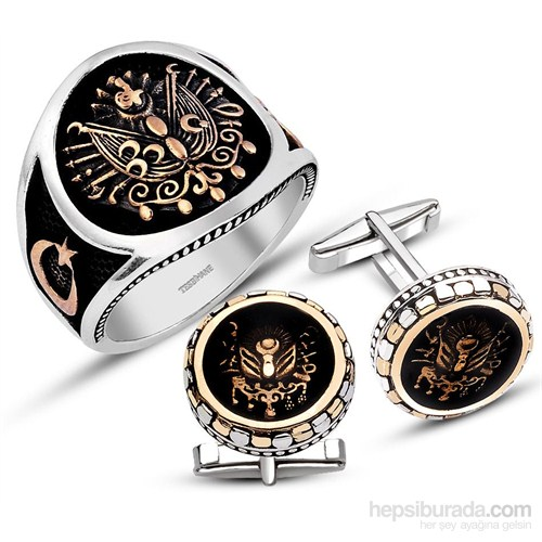 Tesbihane 925 Ayar Gümüş Armalı Yüzük - Kol Düğmesi Kombini