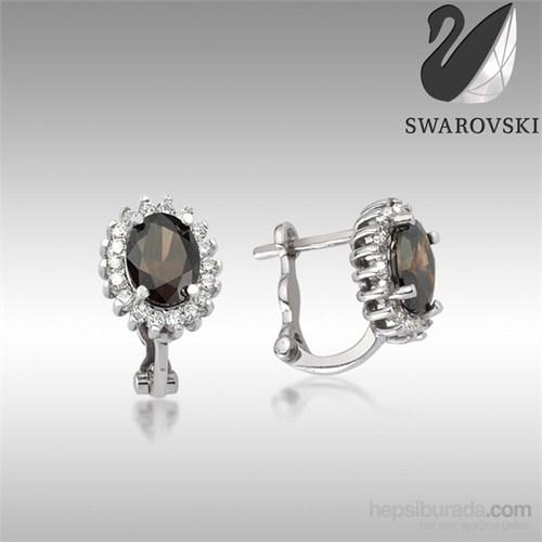 Sheamor Swarovski Siyah Renkli Taş Göz Küpe