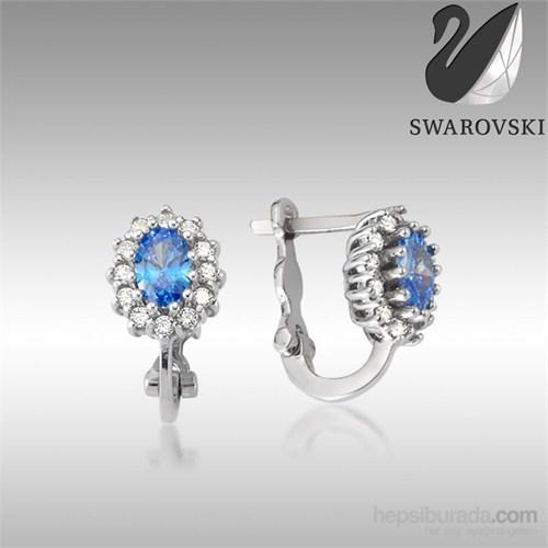 Sheamor Swarovski Mavi Renkli Taş Göz Küpe