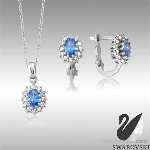 Sheamor Swarovski Mavi Renkli Taş Göz İkili Set
