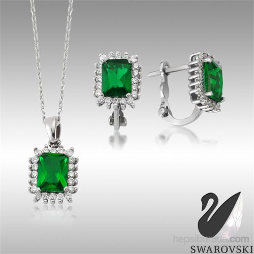 Sheamor Swarovski Yeşil Renkli Taş İkili Set
