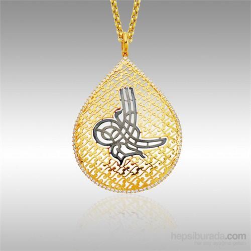 Sheamor Siyah Osmanlı Tuğra Altın Kolye