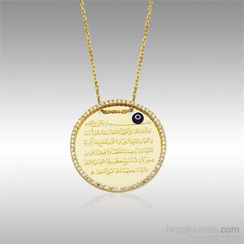 Sheamor Çerçeve Taşlı Ayet-El Kürsi Altın Kolye