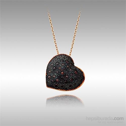 Sheamor Kabartma Siyah Kalp Altın Kolye