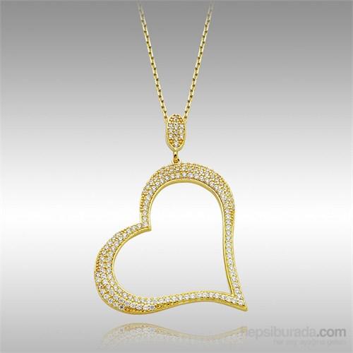 Sheamor Büyük Kalp Taşlı Altın Kolye