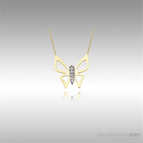 Sheamor Kelebek Taşlı Sarı Altın Kolye