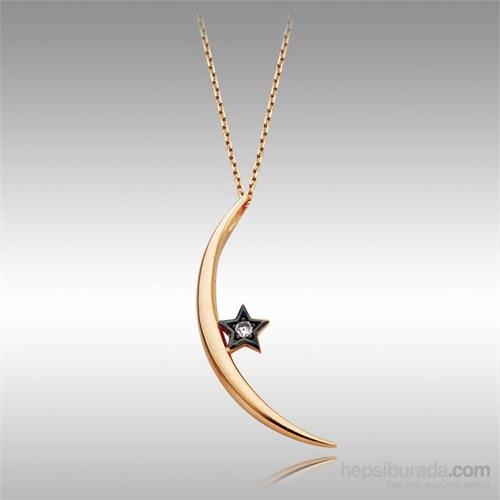 Sheamor Ay Siyah Yıldız Altın Kolye