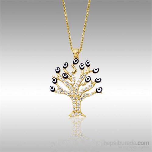 Sheamor Lacivert Nazar Boncuklu Ağaç Altın Kolye