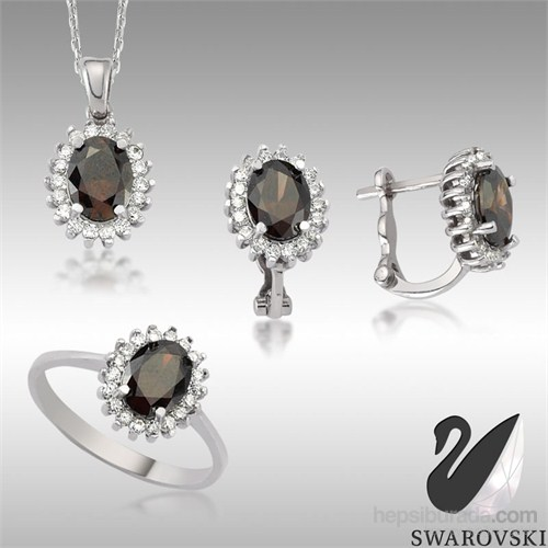 Sheamor Swarovski Siyah Renkli Taş Göz Üçlü Set