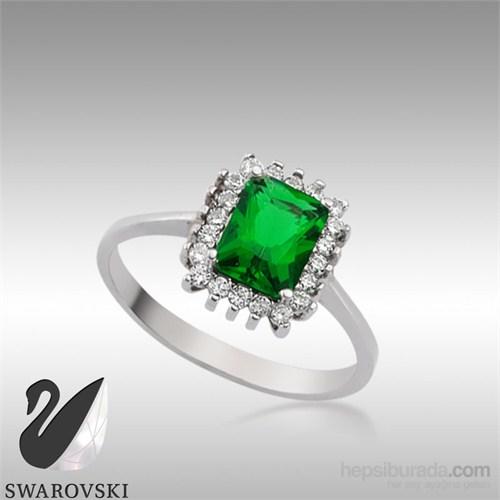 Sheamor Swarovski Yeşil Renkli Taş Yüzük