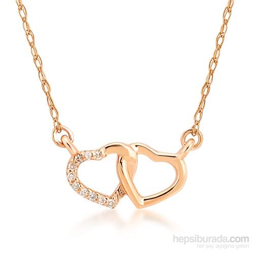 Melin Paris Altın Pırlantalı İki Kalp Kolye