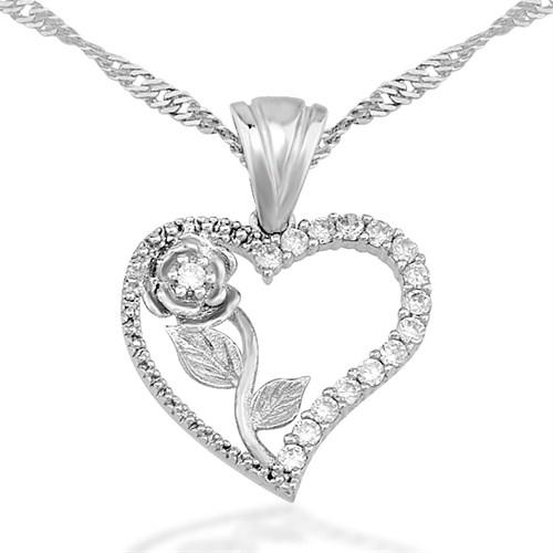 Tekbir Silver Kalbimin Gülü Kolye 3012