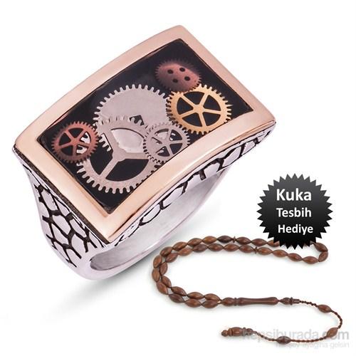 Tekbir Silver Siyah Mineli Gümüş Saat Çarkı Erkek Yüzük