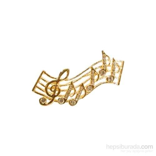 Yapay Elmas Taşlı Porte Ve Notalar Broş - Gold