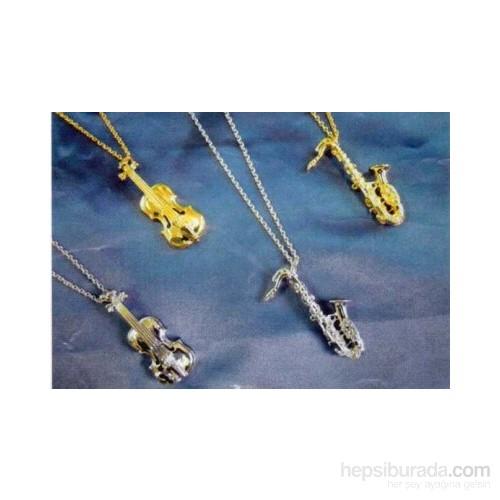 Gümüş - Altın Kaplama Enstrümanlı Kolye