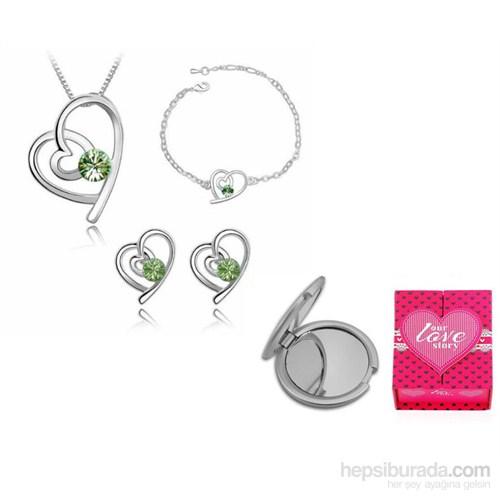 Forentina Yeşil Taşlı Kalpli Takı Seti Fr0177
