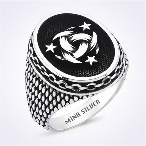 Mina Silver Osmanlı Mit Logolu Taşsız Gümüş Erkek Yüzük