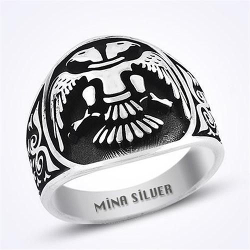 Mina Silver Çift Kartal Selçuklu Taşsız Gümüş Erkek Yüzük