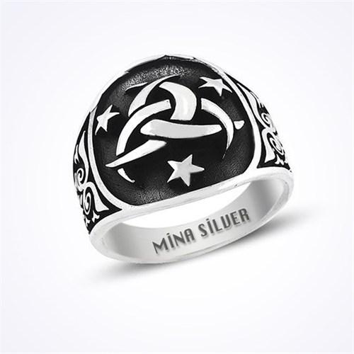 Mina Silver Üç Hilal Teşkilat Mit Taşsız Gümüş Erkek Yüzük