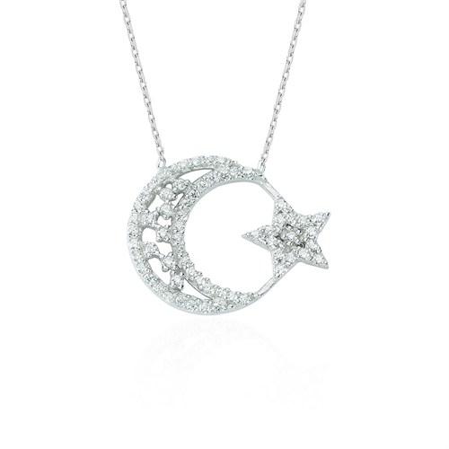 Glorria Gümüş Ay Yıldız Kolye