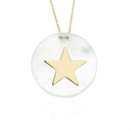 Glorria 14 Ayar Altın Sedefli Yıldız Kolye