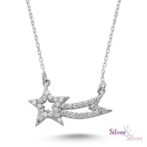 Silver & Silver Kuyruklu Yıldız Zirkon 925 ayar Gümüş Altın Kaplama Kolye