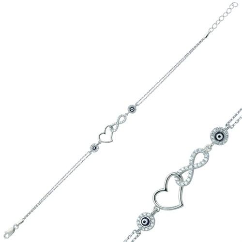 Tekbir Silver Gümüş Sonsuz Kalp Bileklik