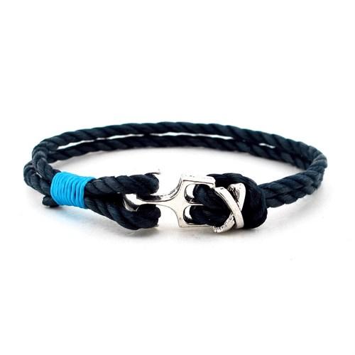 Solfera Çapa Mavi Düğümlü Lacivert Halat Bileklik Bt121