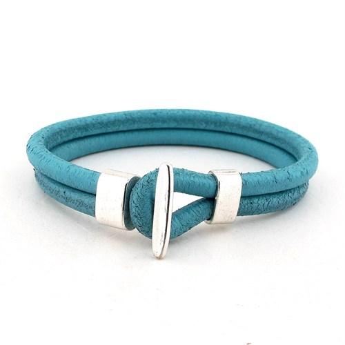 Solfera Açık Mavi Renk Gerçek Deri Erkek Bileklik Bt186