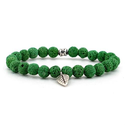 Solfera Yeşil Lava Doğal Taş Erkek Bileklik Yaprak B759