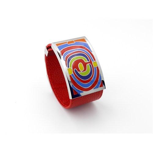 Solfera Kalın Desenli Deri Bayan Bileklik Kırmızı B060